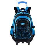 Fanspack mochila con ruedas niño bolsa para la escuela con ruedas niño mochila con carro Mochilas escolares para niños de los grados 2-6