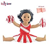 Emily Rose Doll Clothes Fit American Girl Doll - Red Cheerleader Outfit - 18 Inch Clothing with 18' Accessories