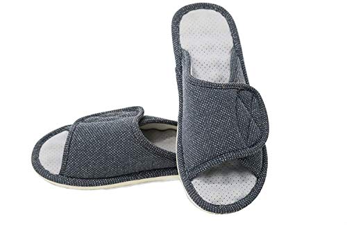 Sisliya Women Diabetic Slippers/W Arthritis Edema Adjustable Closure Memory Foam House Slipper Open Toe - Grey