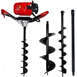 ECO LLC 52cc 2.4HP Gas Powered Post Hole Digger with Two Earth Auger Drill Bit 6' & 10' + Extention