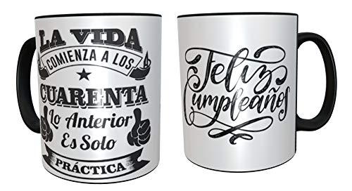 Taza de desayuno regalo original para 40 cumpleaños - regalos para hombres 40 años - regalos 40 cumpleaños mujer (Español)