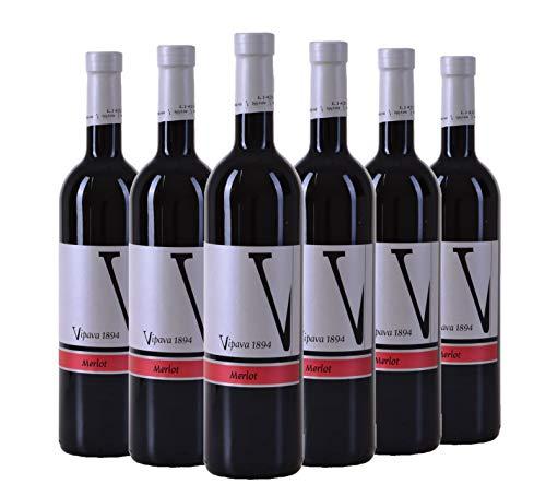 VIPAVA 1894 Vino rosso Merlot 2015, vino rosso secco raccolto a mano (6 x 0,75 l)