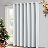 NICETOWN Vertical Blinds for Sling Door - Silver Grommet Top Blackout Window Curtains, Privacy Blinds for Patio, Extra Wide Drapes (Greyish White, W100 x L84)