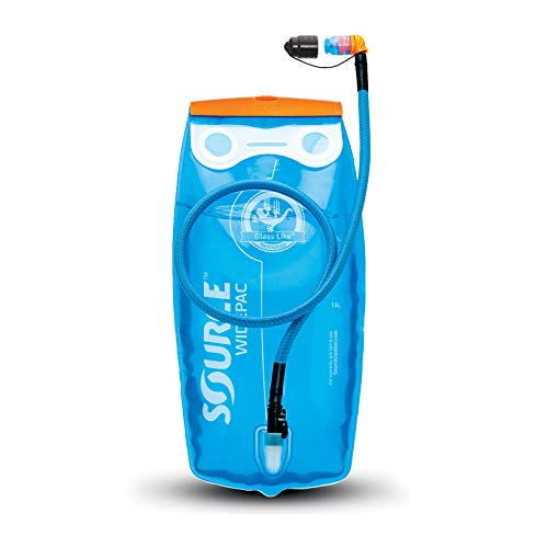 Source Outdoor Widepac Hydration System Reservoir with Helix Bite Valve, 2-Liter / 70 oz, Transparent Blue
