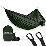 Bear Butt Lightweight Double Camping Parachute Hammock-Large, Portable Two-Person Hammock for Hiking & Backpacking - 16 Colors Available (Green / Charcoal)
