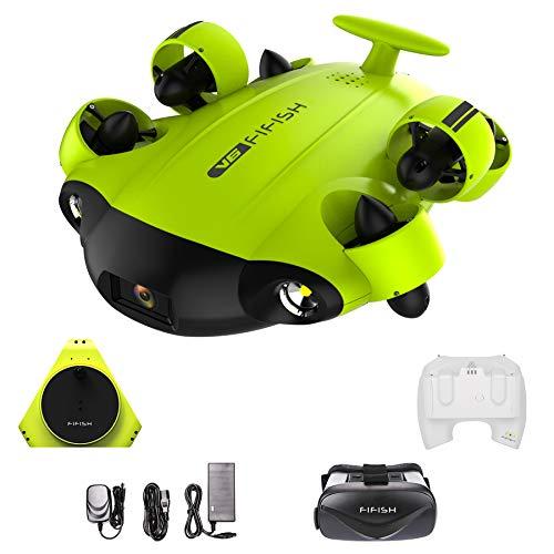 Fifish Drone Sottomarino Fotocamera V6 QYSEA Grandangolare 162 6 Motion Directions 4K UHD 12 MP Cavo 100m; profondit 100m VR Occhiali 64 GB Registrazione Video Pesca Mondo Sottomarino 843823