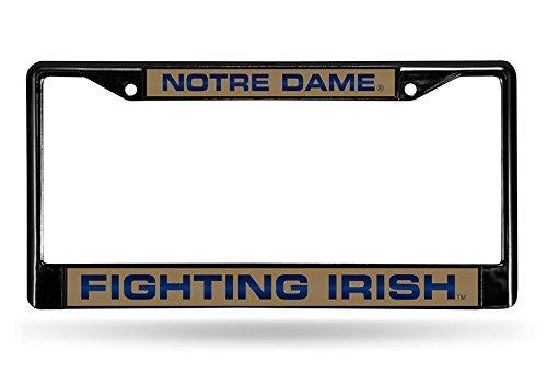NCAA Rico Industries Laser Cut Inlaid Standard Chrome License Plate Frame, Notre Dame Fighting Irish