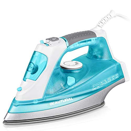 BEAUTURAL 1800 Watt Steam Iron for Clothes with Precision Thermostat Dial, Double Layered and Ceramic Coated Soleplate, 3-Way Auto-Off, Self-Cleaning, Anti-Calcium, Anti-Drip