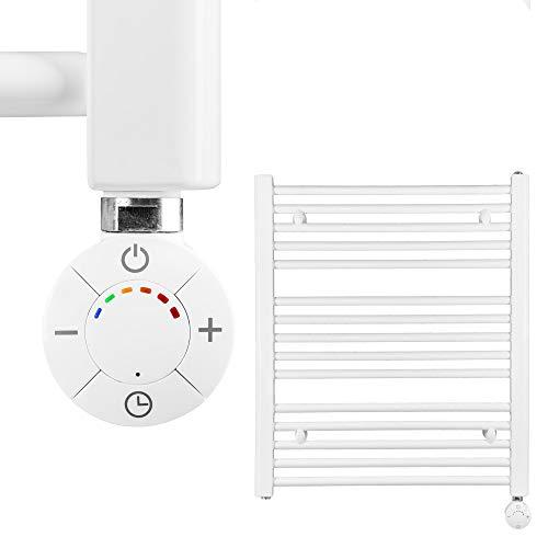 VEVASTO Badheizkörper elektrisch 702 x 600mm Handtuchheizkörper 600 Watt Handtuchtrockner weiß inkl. Heizstab Smart Thermostat