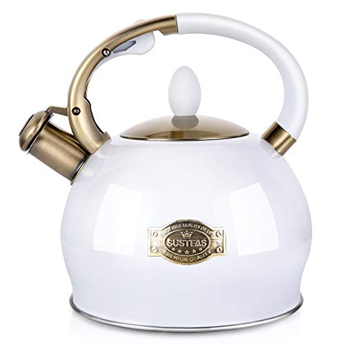 SUSTEAS Stove Top Whistling Tea Kettle-Surgical Stainless Steel Teakettle Teapot with Cool Toch Ergonomic Handle,1...