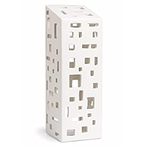 Contemporary Scandinavian design ceramic tea light holder. Use on its own or build a cityscape with the other buildings available (see variations). Handmade from naturally white dolomite ceramic, with a clear glaze. Created for Khaler by Danish desig...