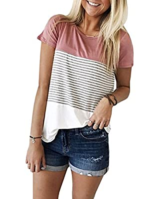 Season: Spring, Summer top for women Short sleeve, round neck,Striped Blouse Short Sleeve T Shirt Soft cozy fabric Great for daily life, party, beach, vacation,school Casual T-shirts perfect match with jeans, leggings or shorts Small/US 4--Medium/US ...