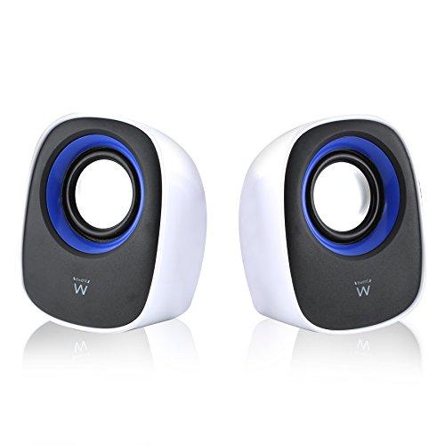 Ewent Sistema Audio 2.0 Speaker Casse Stereo, Alimentate via USB, Bianco/Nero/Blu