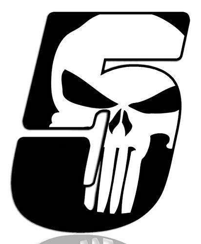 Biomar Labs® Número 5 Punisher Calavera Vinilo Adhesivo Pegatina Coche Auto Motocross Moto Sport Start Racing Tuning N 365