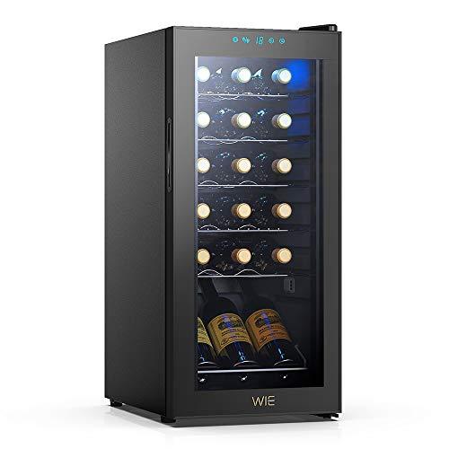 WIE Cantinetta Vino, 18 Bottiglie Mini Frigo Bar Frigorifero per Vini e Bevande, Temperatura digitale del tocco di 5-18  C, Illuminazione interna a LED, Nero