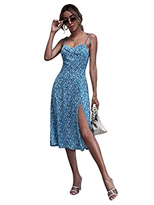 Fabric has non stretch but breathable Ditsy floral, tie shoulder, shirred back, split hem, zipper, knot shoulder, split thigh, midi dress Occasion: great for summer, beach, vacation, party, going out, dating, dinner Care: Machine wash with cold water...