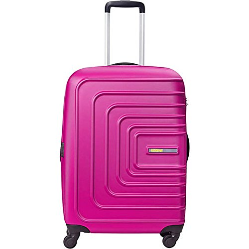American Tourister Sunset Cruise Hardside Luggage with Spinner Wheels, Pink Berry, Checked-Medium 24-Inch