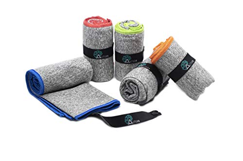 Acteon Microfiber Gym Towels - Quick Dry Workout Towel - Fights Odors - Compact Sports Towel for Workout, Travel, Camping - Ultra Lightweight Sweat Towel - 5-Pack Heather Gray - 30'x16'