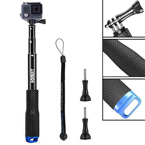 Homeet Bastone Selfie per GoPro, 49CM Asta Telescopico Selfie Stick per Action Cam SJCAM/ Akaso/ Garmin Virb/ DBPOWER/ YI 4K/ QUMOX/ Rollei/ Apeman