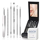 Blackhead Remover Comedone Extractor,Bedace Pimple Popper Tool Kit,6 PCS Stainless Tweezers Kit With A Leather Bag And 6 pcs Disinfectant Cotton.