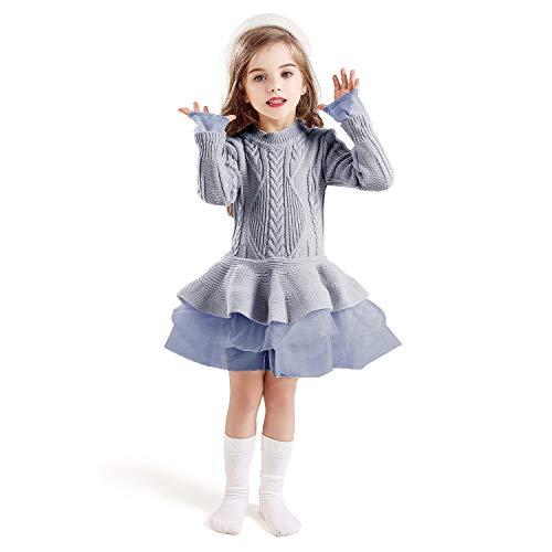 TTYAOVO Suéter para Niñas Vestido de Princesa de Punto de