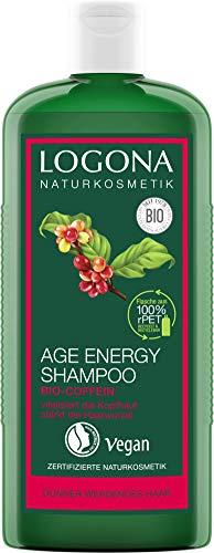 LOGONA Naturkosmetik Age Energy Shampoo Bio-Coffein, Natürlich effektiv gegen Haarausfall, Stärkt dünnes und kraftloses Haar, Schenkt neue Energie und Kraft für gestärkte Haare, Vegan, 250ml