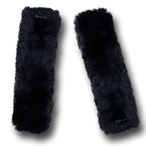 3. Zento Deals Soft Faux Sheepskin Seat Belt Black Shoulder Pad
