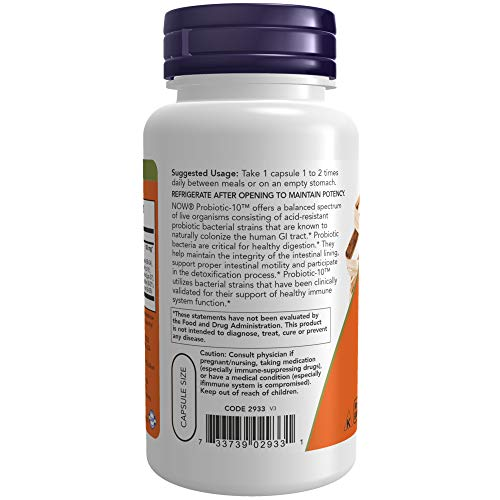 NOW Supplements, Probiotic-10, 25 Billion, with 10 Probiotic Strains, Dairy, Soy and Gluten Free, Strain Verified, 100 Veg Capsules 6