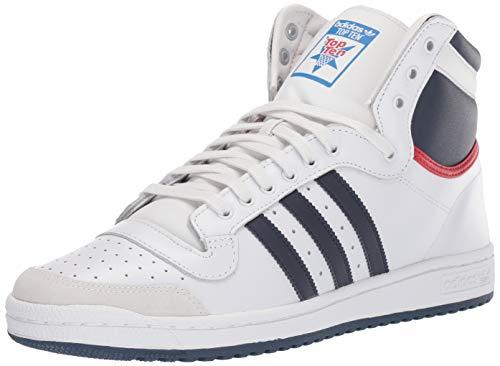 adidas Originals Men's Top Ten Hi Sneaker, Neo White/New Navy/Collegiate red, 9 M US