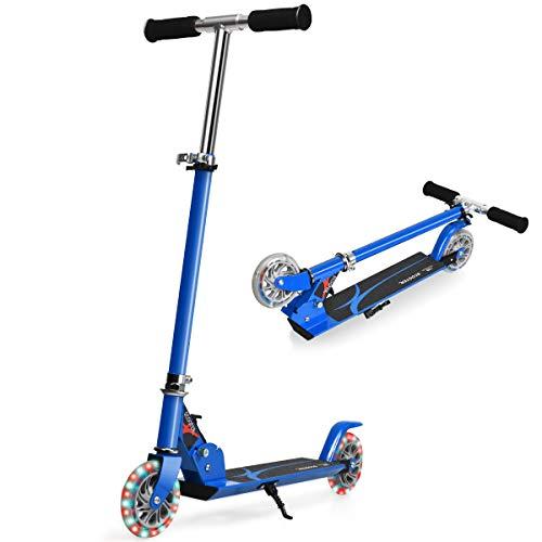 COSTWAY Scootor höhenverstellbar, Kinder Roller klappbar, Kickroller mit 2 blinkenden Räder, Tretroller, Kinderroller, Cityroller für Kinder ab 4 Jahre (Blau)