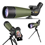 Gosky Updated 20-60x80 Spotting Scope with Tripod and Carrying Bag and Smartphone Adapter - BAK4 Angled Telescope - Waterproof Scope for Target Shooting Hunting Bird Watching Wildlife Scenery