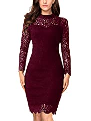 High Neck, Hollow Out Lace Long Sleeve, Scalloped Hem, Knee Length Short Fitted Dress, Zipper on the Back. Occasion: Wedding party as a guest, casual cocktail, semi-formal, business meeting,evening, night out or date, dinner. Cute floral lace overlay...