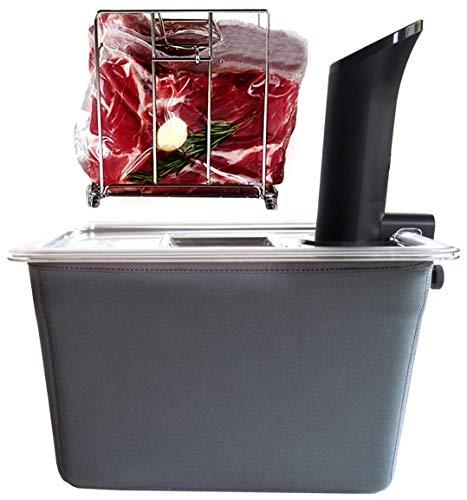 VÄESKE Contenitore isolato Sous Vide con coperchio e cremagliera, trattiene il calore e protegge i piani di lavoro, funziona con la maggior parte dei fornelli Sous Vide (12 QT)