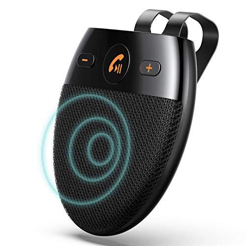 AGPTEK Kit Mains Libres pour Voiture Bluetooth 5.0, Haut-Parleur sans Fil Micro Intégré avec Clip pour Visière et Réduction de Bruit Support du Démarrage du Capteur/Siri/Google Assistant/Musique,Noir