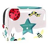 Bolsa de maquillaje portátil con cremallera bolsa de aseo de viaje para las mujeres práctico almacenamiento cosmético bolsa Happy Time Hardworking Bee