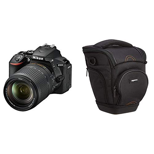 Nikon D5600 + AF-S DX NIKKOR 18-140 mm VR, Fotocamera Reflex Digitale, 24.2 Megapixel, LCD Touchscreen 3', SD 8 GB 300x Premium Lexar, Nero + Amazon Basics - Custodia per Macchine Fotografiche Reflex