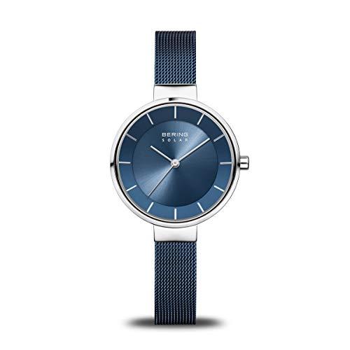 BERING Damen Analog Solar Collection Armbanduhr mit Edelstahl Armband und Saphirglas 14631-307