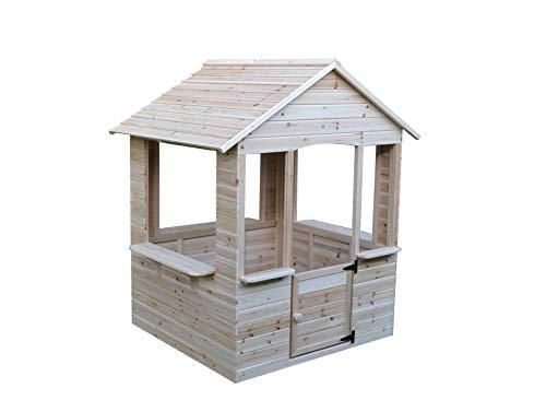 GASPO Spielhaus aus Holz   L 120 cm x B 107 cm x H 140 cm   Kinderspielhaus für den Garten und Drinnen