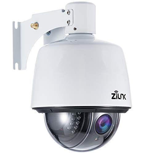 ZILNK 1080P HD Telecamera dome PTZ IP All'aperto,Telecamera di sicurezza Wi-Fi all'esterno,padella/inclinazione,Zoom ottico 5X, Visione notturna IR,allarme di movimento, IP65 impermeabile, P2P