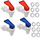 Replacement Cooler Faucet, Spigot of Water Filter Dispenser,Reusable Spigot Spout Water Beverage Lever Pour Dispenser Valve Water Crock Water Tap,4 Pieces,Blue/Red