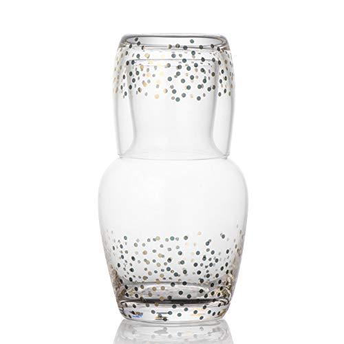 Trinkware Goldosa Bedside Water Carafe And Glass Set - Speckled Gold Luster Design - Mouthwash Decanter And Cup
