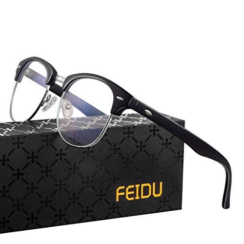 FEIDU Blaulichtfilter Brille -Halbrahmen Brille Herren Computerbrille Damen UV-Schutz Farbwechsel Schutzbrille Gegen Augenermüdung 0 Grad Transparente Gläser FD3031 (Silber)