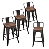 Andeworld Set of 4 Tolix-Style Counter Height Stools with Backs Industrial Metal Bar Stools Low Back (26 Inch, Rusty with Wooden Top)