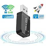 FAGORY Mini USB 3.0 WiFi Adaptateur 1200Mbps Clé WiFi Dongle AC Dual Band, WiFi...