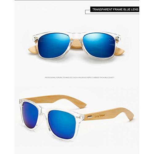 Taiyangcheng Bambus Sonnenbrillen Herren Sonnenbrillen Damen Sonnenglas Holz,Transparentes Blau