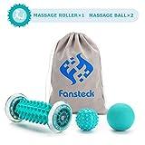 Rouleau de massage, masseur Fansteck pour pieds et mains, pour soulager la douleur causée par la fasciite plantaire, les muscles, le col utérin, les poignets, etc. Avec 2 boules de massage