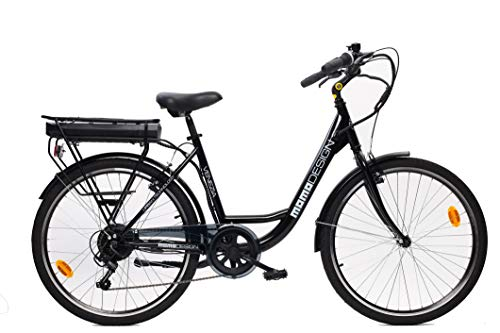 MOMO Design Venezia Bicicleta eléctrica con pedaleo asistido, Unisex Adulto, Negro, Talla única