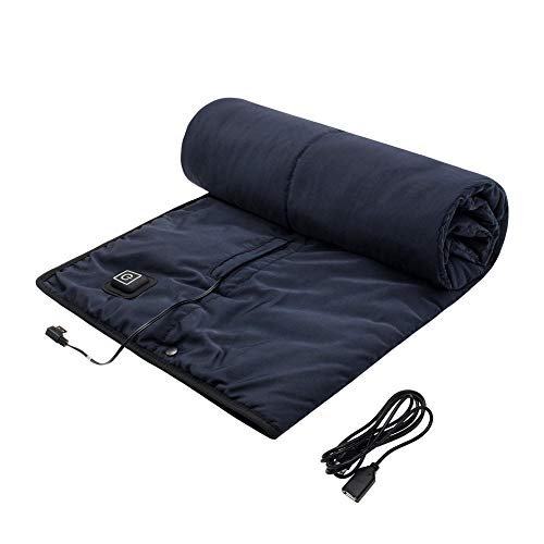 lomitech Camping Blanket,Heated Blanket with 3 Heating Levels Waterproof Wearable Multi-use Noiseless Fast USB Heating for Outdoors Stadium Home Office (Black)