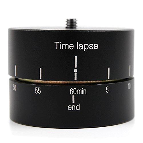 DURAGADGET Supporto Girevole Time Lapse Base per Action Cam Panlelo V6, Panlelo V5, Hawkeye Firefly 8SE + Adattatore / 360°- 60 Minuti - Vite in Acciaio di Alta qualità