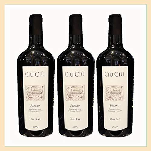 3x bottiglie vino Rosso Piceno DOP'Bacchus' biologico, Cantina Ci Ci, Offida, Ascoli Piceno, Italy, prodotto tipico marchigiano